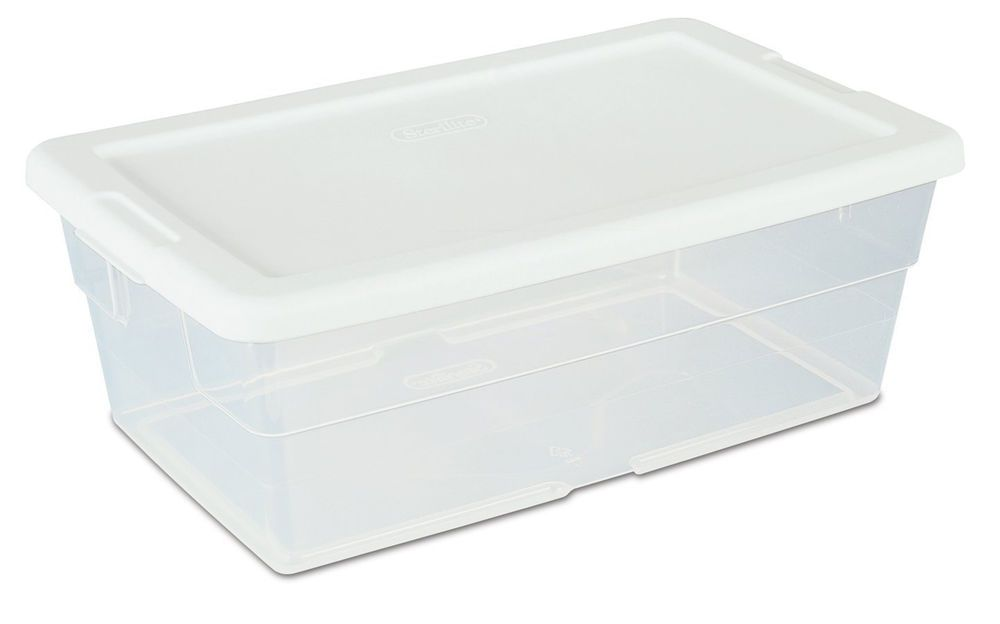 12 Storage Plastic Containers Clear Base Boxes 6 Quart White Lids Bin Stackable Sterilite Plastic Storage Bins Storage Bins With Lids Sterilite