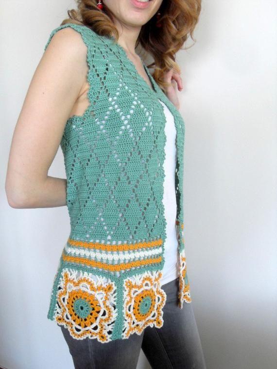 Crochet Vest,Summer Top, Granny Square Top,Lace Tank, Avocado Green Mustard,Romantic Top, Summer Fashion-Small Size