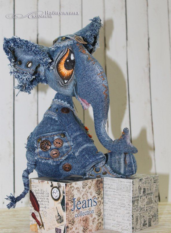 выкройка игрушки кошки и слона из старых джинсов