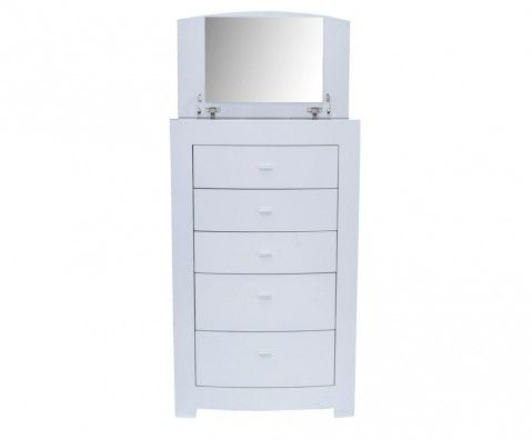 Cardiff White High Gloss 5 Drawer Chest With Lift Up Vanity Mirror Drawers White Bedroom Furniture 5 Drawer Chest