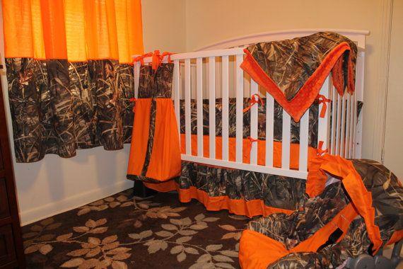 Complete Nursery 7 Pc Set Camo Max4 Shadow Grass Duck Fabric And Orange Minky Dot Baby Crib Bedding Set W Camouflage Baby Camo Baby Stuff Baby Boy Crib Bedding