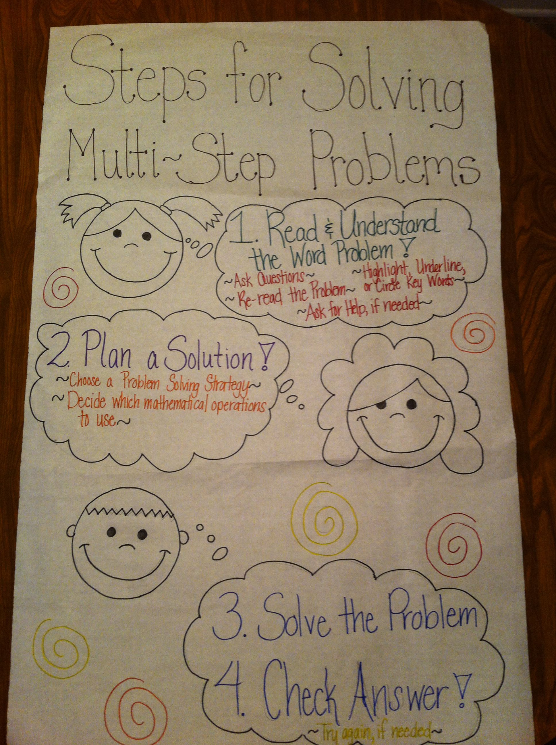 hight resolution of multi step word problem anchor chart