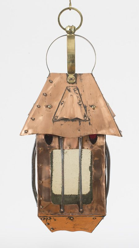 ENGLISH ARTS AND CRAFTS COPPER AND BRASS HANGING LANTERN, CIRCA 1900