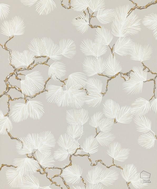 El Papel Pintado Pino Piedra Motivos Vegetales De Inspiración Japonesa Papel Pintado Paredes Con Papel Pintado Papel Pintado De Diseño