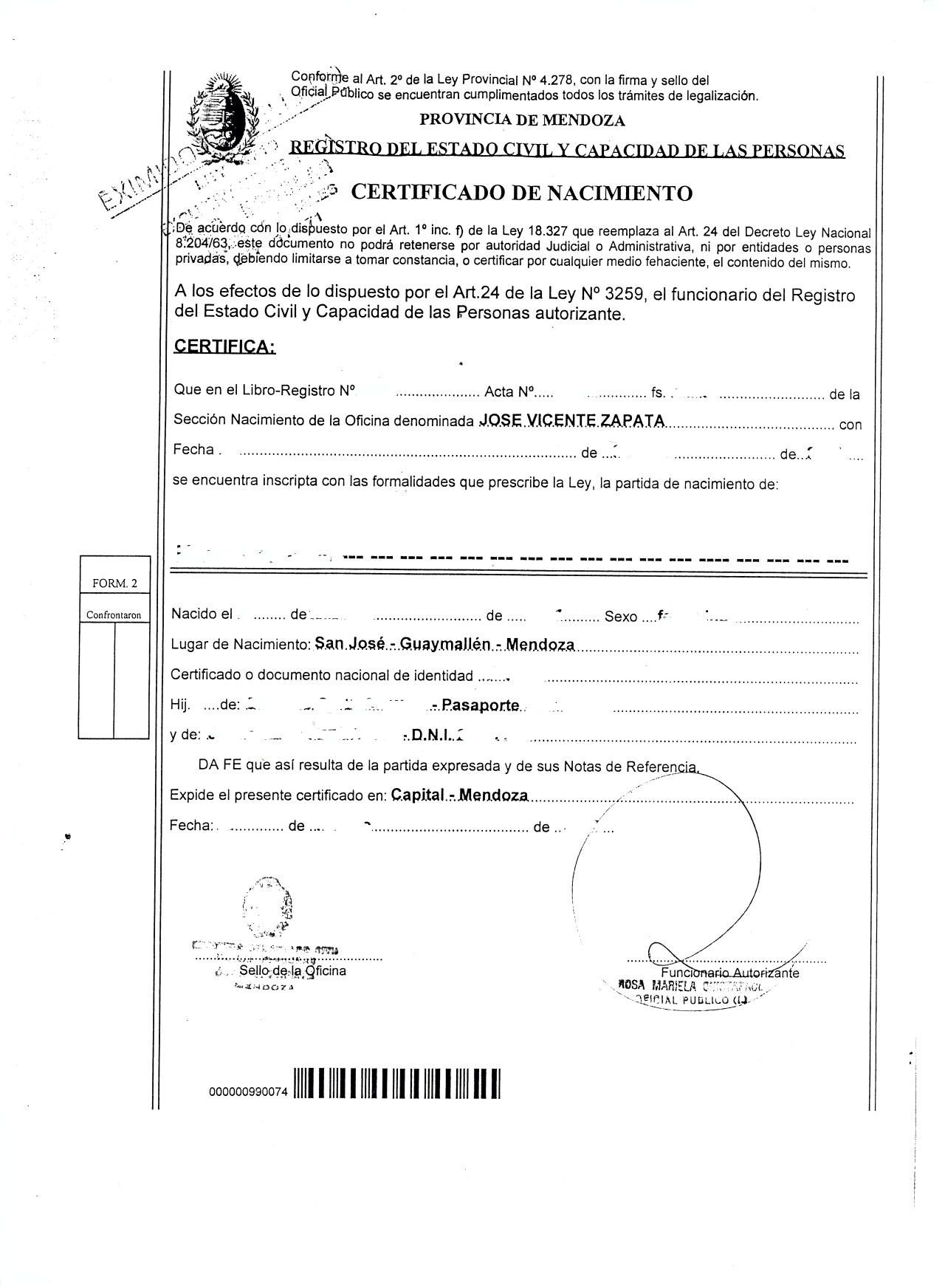 Mexican Birth Certificate Translation Template Choice