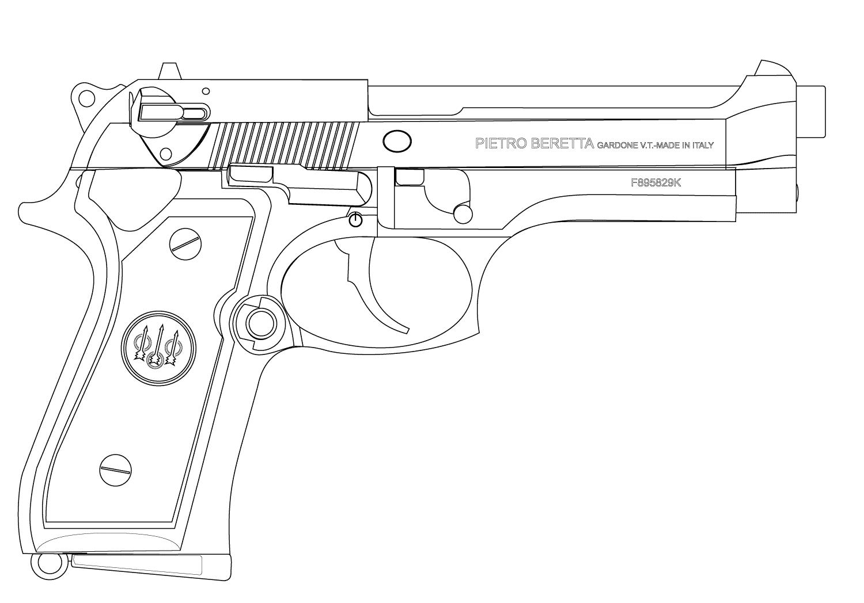 Раскраска Пистолет распечатать бесплатно в 2020 г | Ружье ...