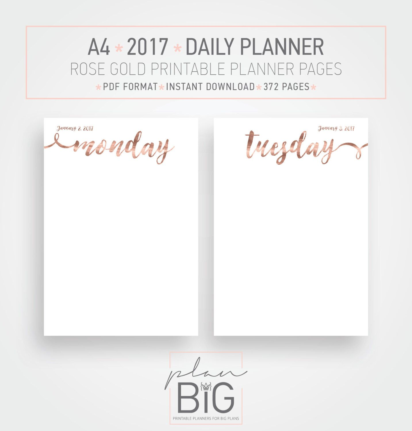Printable  Planner Pages Blank A Planner Rose Gold Planner
