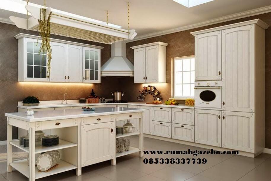 Kitchen Set Kayu Mahony Putih Desain Dapur Modern Interior Dapur Dekorasi Dapur