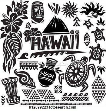 24a721132 Drawing - hawaii set. fotosearch - search clipart, illustration posters,  drawings and vector eps graphics images