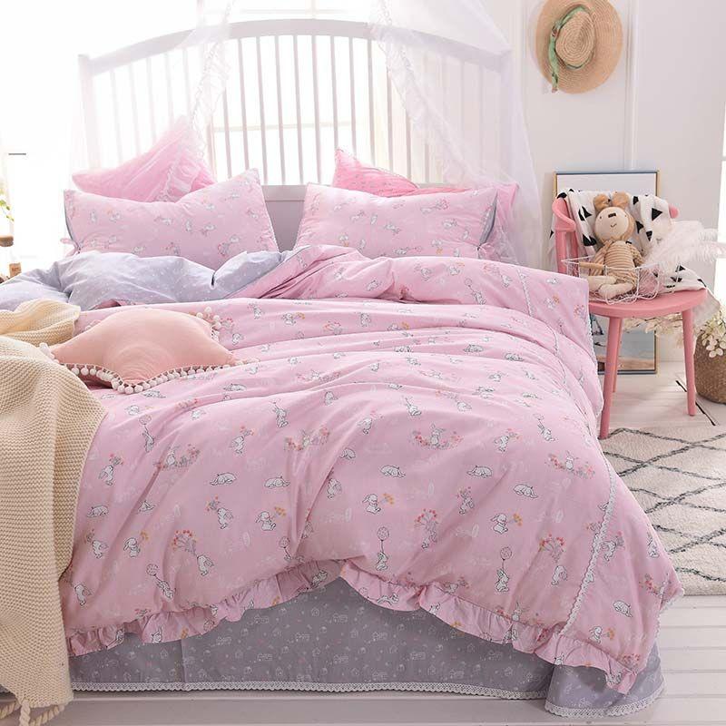 Korean Princess Style Bedding Set Pink Rabbit Pattern