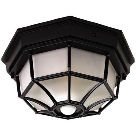 Octagonal 12 wide black motion sensor outdoor ceiling light octagonal 12 wide black motion sensor outdoor ceiling light h7011 lamps plus mozeypictures Choice Image