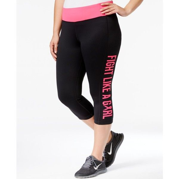 a139261eca5c Ideology Plus Size Breast Cancer Awareness Crop Leggings, ($40) ❤ liked on  Polyvore featuring plus size women's fashion, plus size clothing, ...