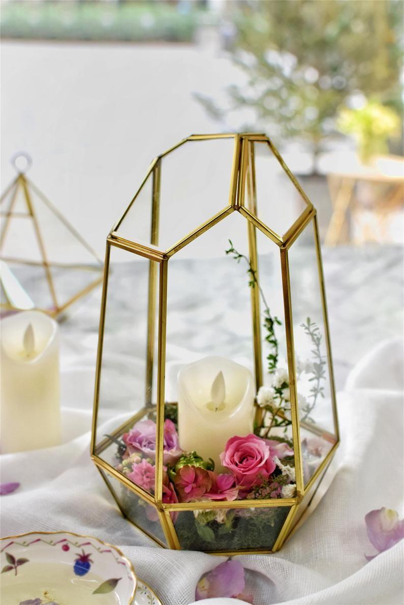 Ncyp Handmade Glass Geometric Terrarium Irregular Brass Gold Etsy Terrarium Centerpiece Terrarium Wedding Candle Holder Decor