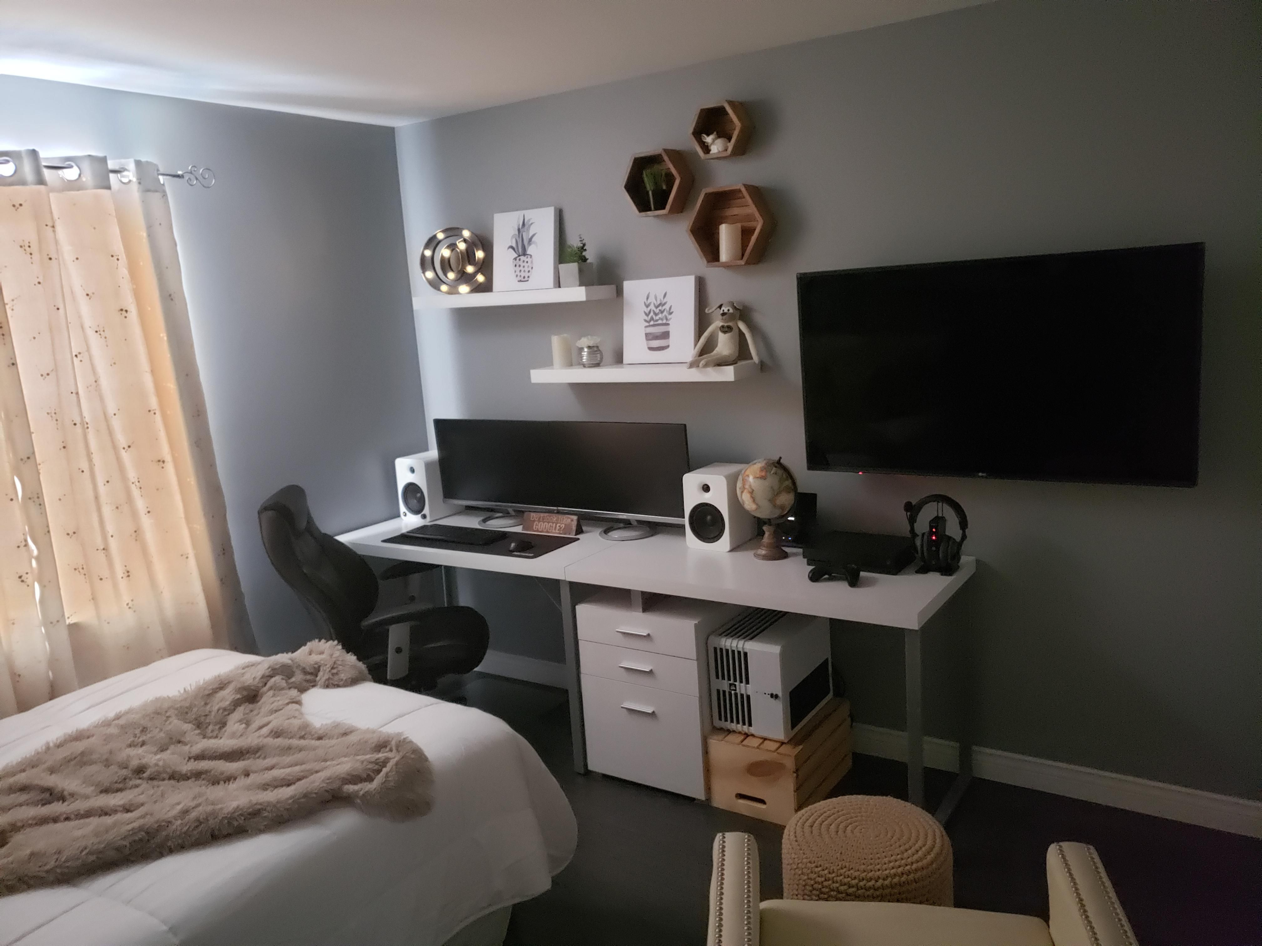 Spare Bedroom Office Console Gaming Station Guest Bedroom Office Guest Bedroom Home Office Bedroom Office Combo Small home office spare bedroom ideas