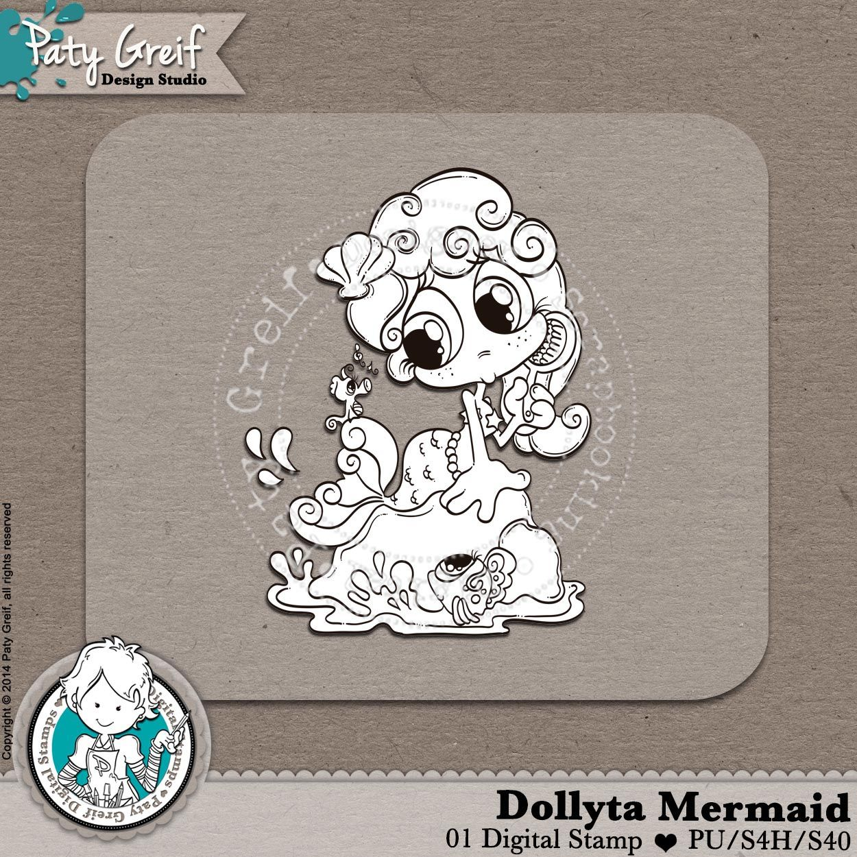"""Dollytas Collection """"Dolytas Mermaid"""" Exclusive Designs by Paty Greif. Pack with 1 digi stamp"""