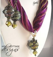 Artisan crafted lampwork and silk necklace and earrings