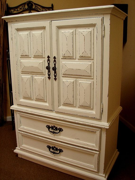 sale reclaimed vintage shabby chic paint white chifferobe. Black Bedroom Furniture Sets. Home Design Ideas