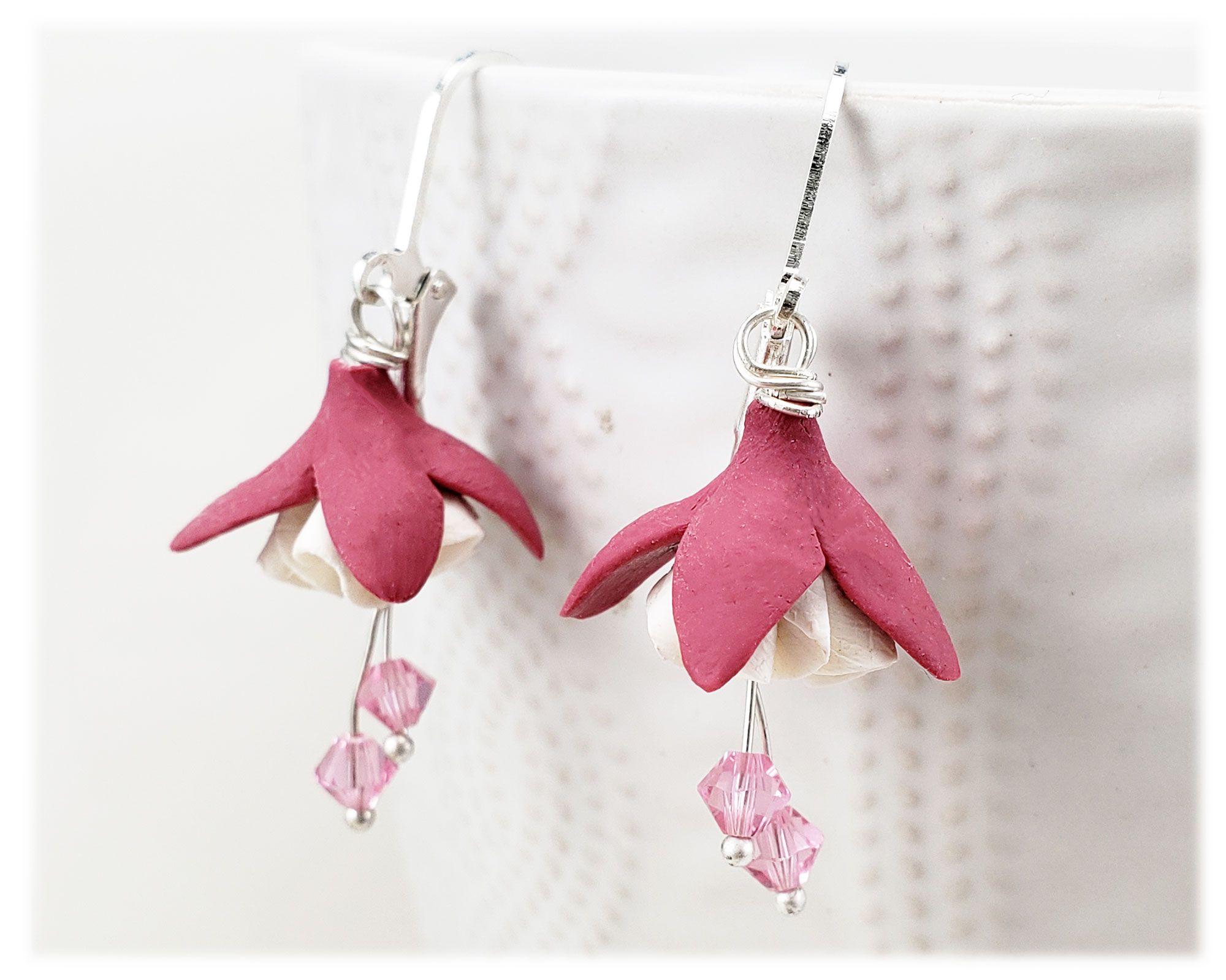 White Pink Fuchsia Flower Earrings Fuchsia Flower Flower Jewellery Flower Earrings
