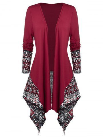 Photo of Plus Size Asymmetrical Ethnic Pattern Open Draped Cardigan