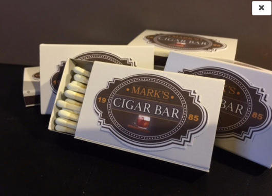 """""""The Classic"""" Cigar Bar Match Boxes -25 boxes with FREE CUST"""