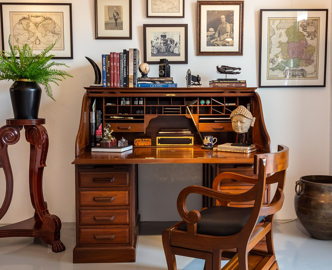 Antique British Colonial Roll Top Desk The Past Perfect Collection Colonial Furniture Roll Top Desk British Colonial