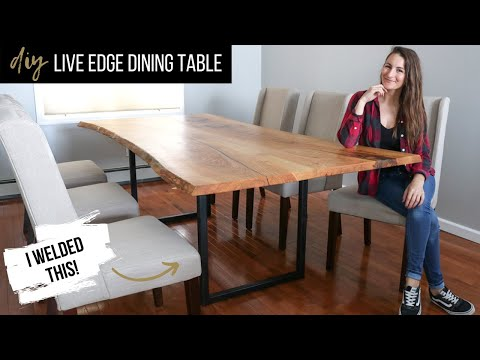135 Diy Live Edge Dining Table With Metal Legs My First Time