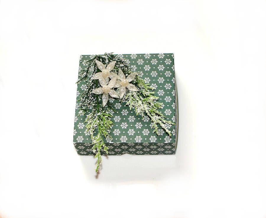 Geschenkkarton Weihnachten.Weihnachten Geschenkschachtel Mit Deckel Grun Handgefertigt
