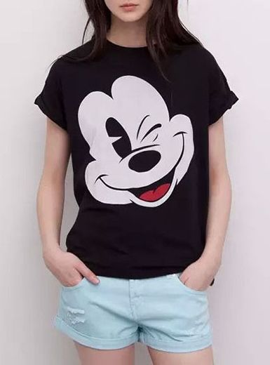 21a64a699063e Women s T-Shirt - Mickey Mouse   Short Sleeved   Black White Red ...