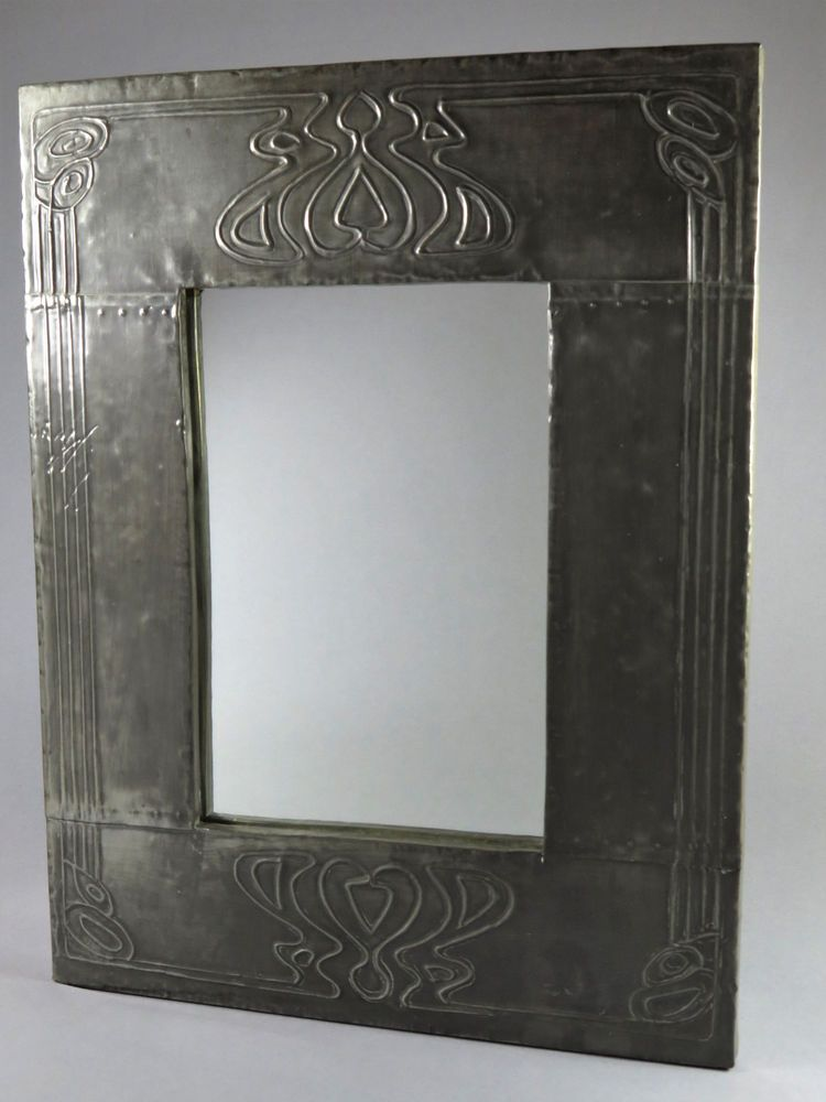 Antique Pewter Arts Crafts Art Nouveau Wall Mirror Home
