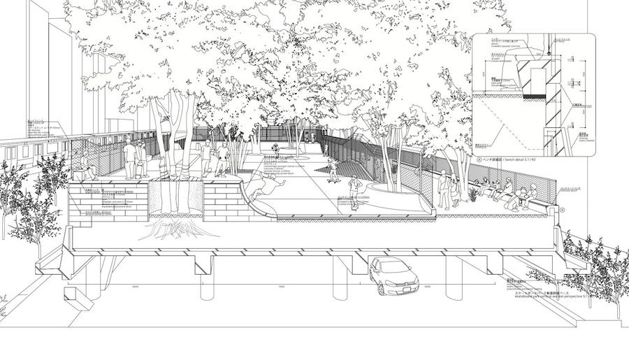 Landskatinh Miyashita Park Section Perspective Jpg 900 482 With Images Bow Wow Architecture Graphics Architectural Section