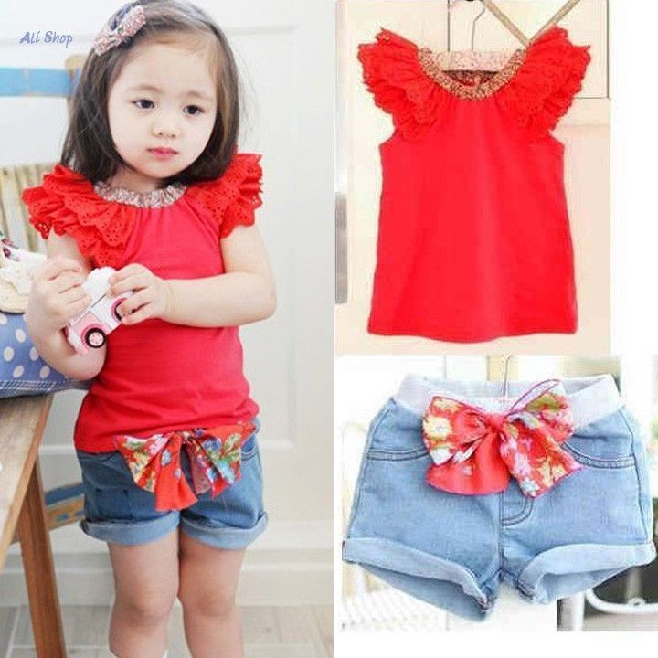 ab34961917b Summer Style Baby Girls Clothes Set Cap Sleeve Tops Kids Tshirt And Short  Girls Jeans Denim Pants