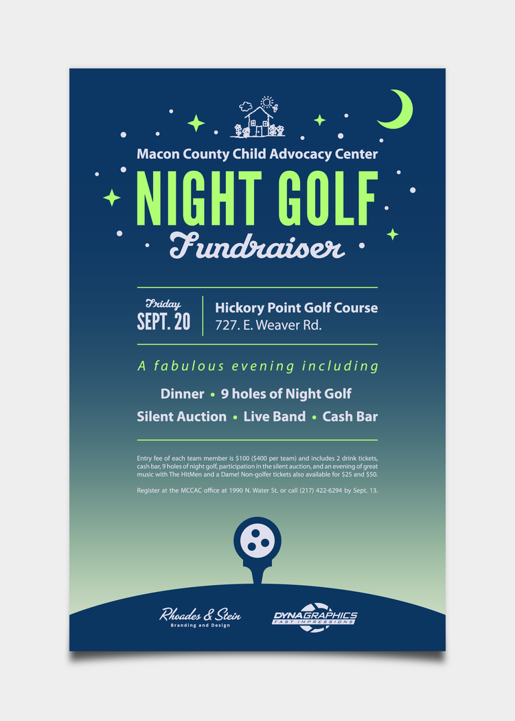 Night Golf Tournament Fundraiser Flyer  Event Logos