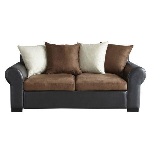 canap convertible 3 places imitation cuir et tissu marron wish list en 2019 pinterest. Black Bedroom Furniture Sets. Home Design Ideas