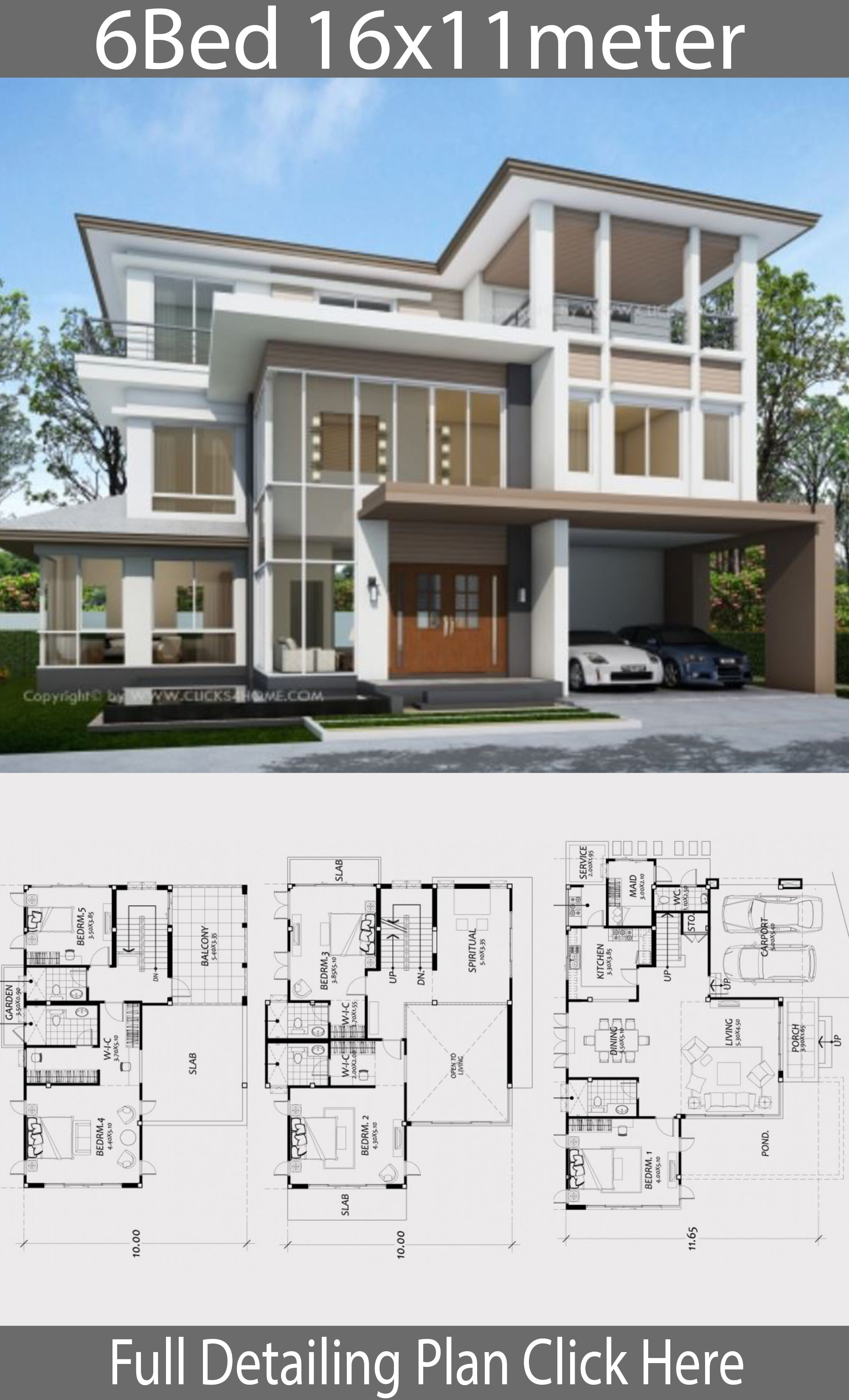 Home Design Plan 16x11m With 6 Bedrooms House Idea Modern House Plans Contemporary House Plans Sims House Plans