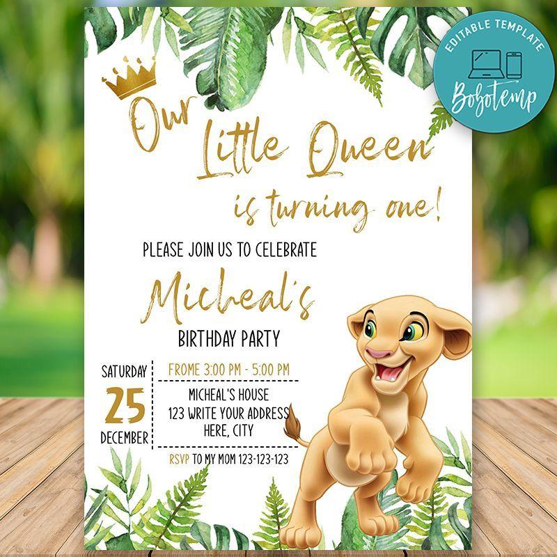 Printable Nala Lion King 1st Birthday Invitation Diy Bobotemp Lion King Baby Shower Lion King Birthday Lion King Birthday Party Invitations