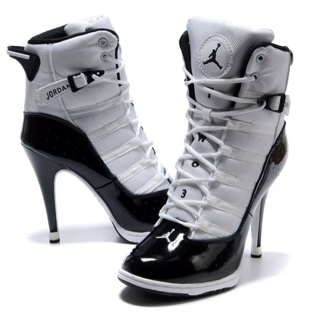 New shoes! Nike Air Jordan 6 Rings High Heels For Women White Black Sale
