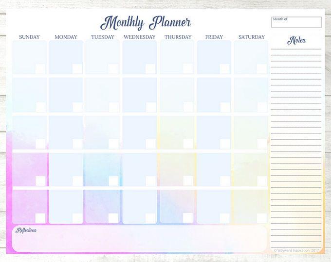 Monthly Calendar  Blank Calendar Pdf  Habit Tracker  Monthly
