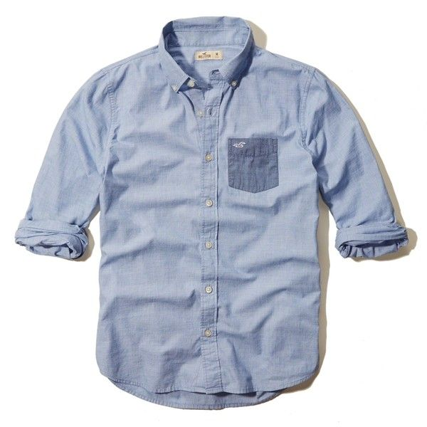 Guys Shirts Tops ($40) ❤ liked on Polyvore featuring tops, blue shirt, blue top, hollister co., shirts & tops and hollister co shirts