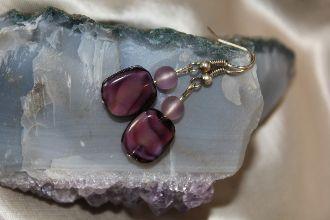 Amethyst Glass Swirl Earrings