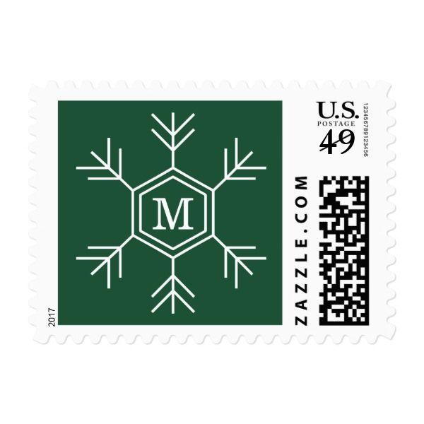 Linear Snowflake Monogram Holiday Postage #christmas #postage #stamps