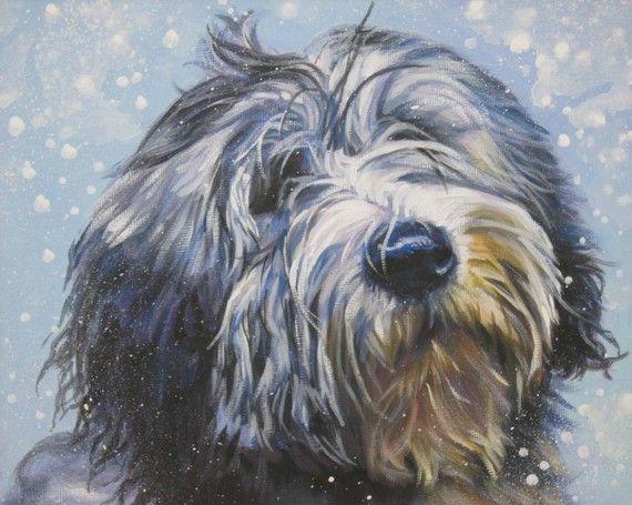 Polish Lowland Sheepdog art CANVAS print of LA Shepard painting 8x10 dog portrait