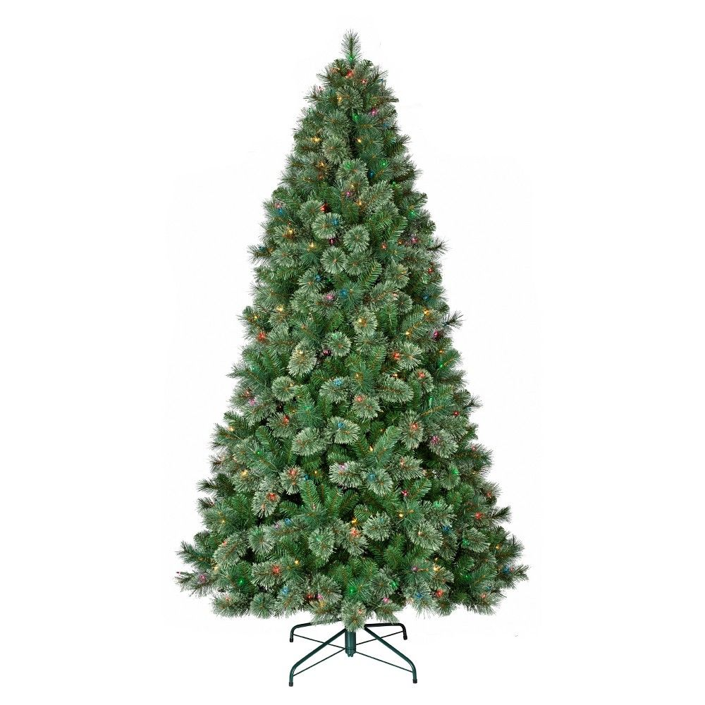 7.5ft Prelit Artificial Christmas Tree Virginia Pine Multicolored ...