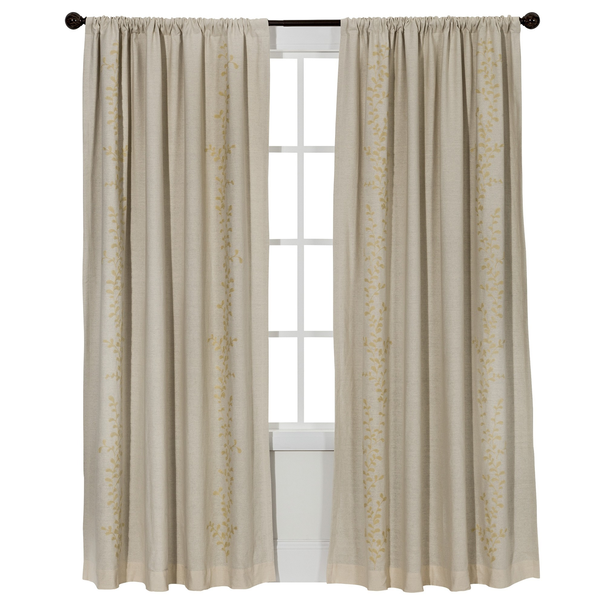 23 Charming Beige Living Room Design Ideas To Brighten Up: Embroidered Vine Light Blocking Curtain Panel Cream (54