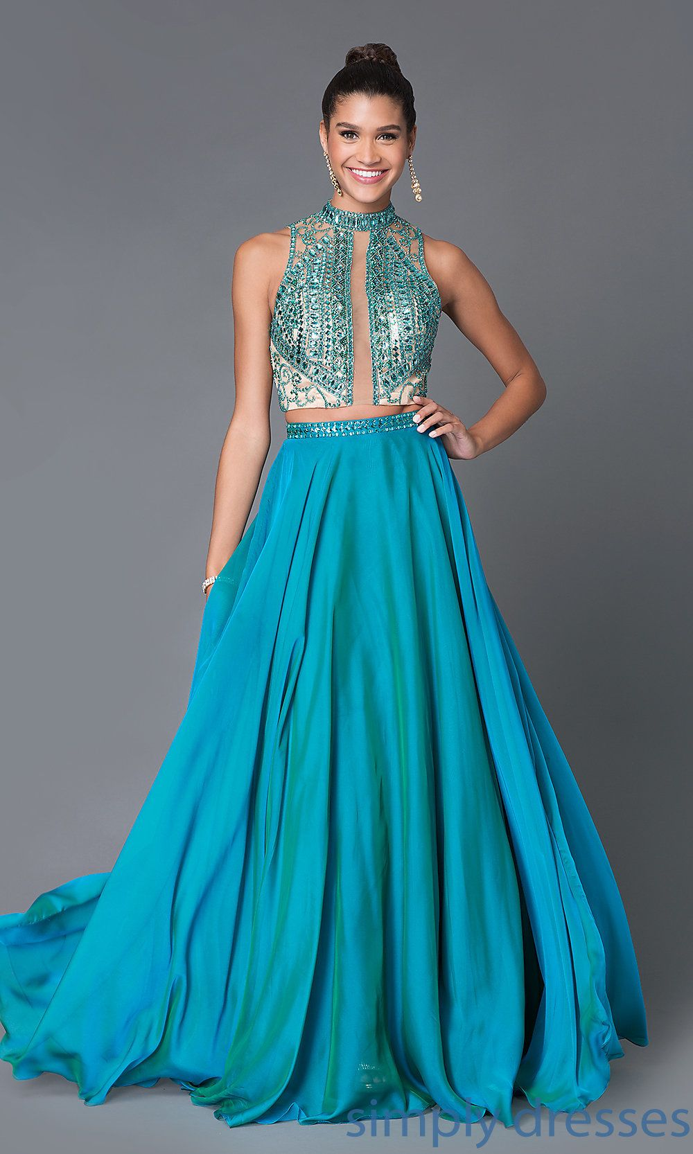 MF-E1939 - Long Teal Two Piece Dress With Beaded Bodice | Dress ...