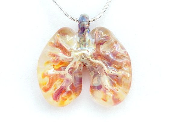 Lampwork borosilicate blown glass Lungs necklace. By Deenie Wallace of Jubilant Glass & Art.
