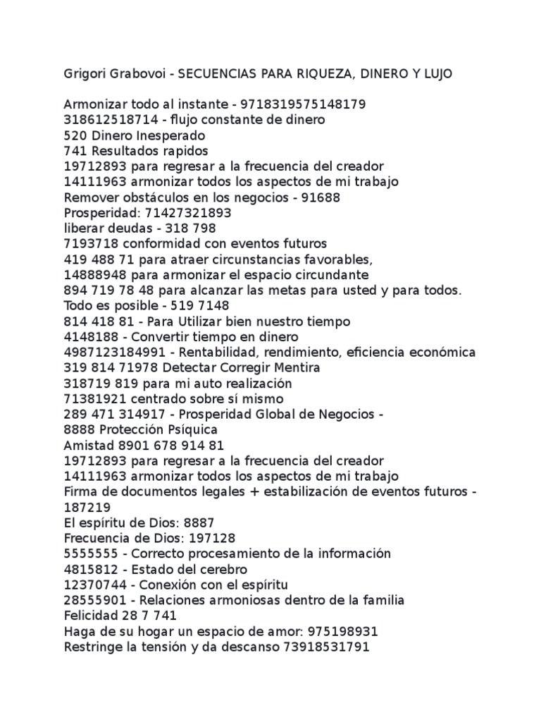 Secuencias para Riqueza, Dinero y Lujo   PDF
