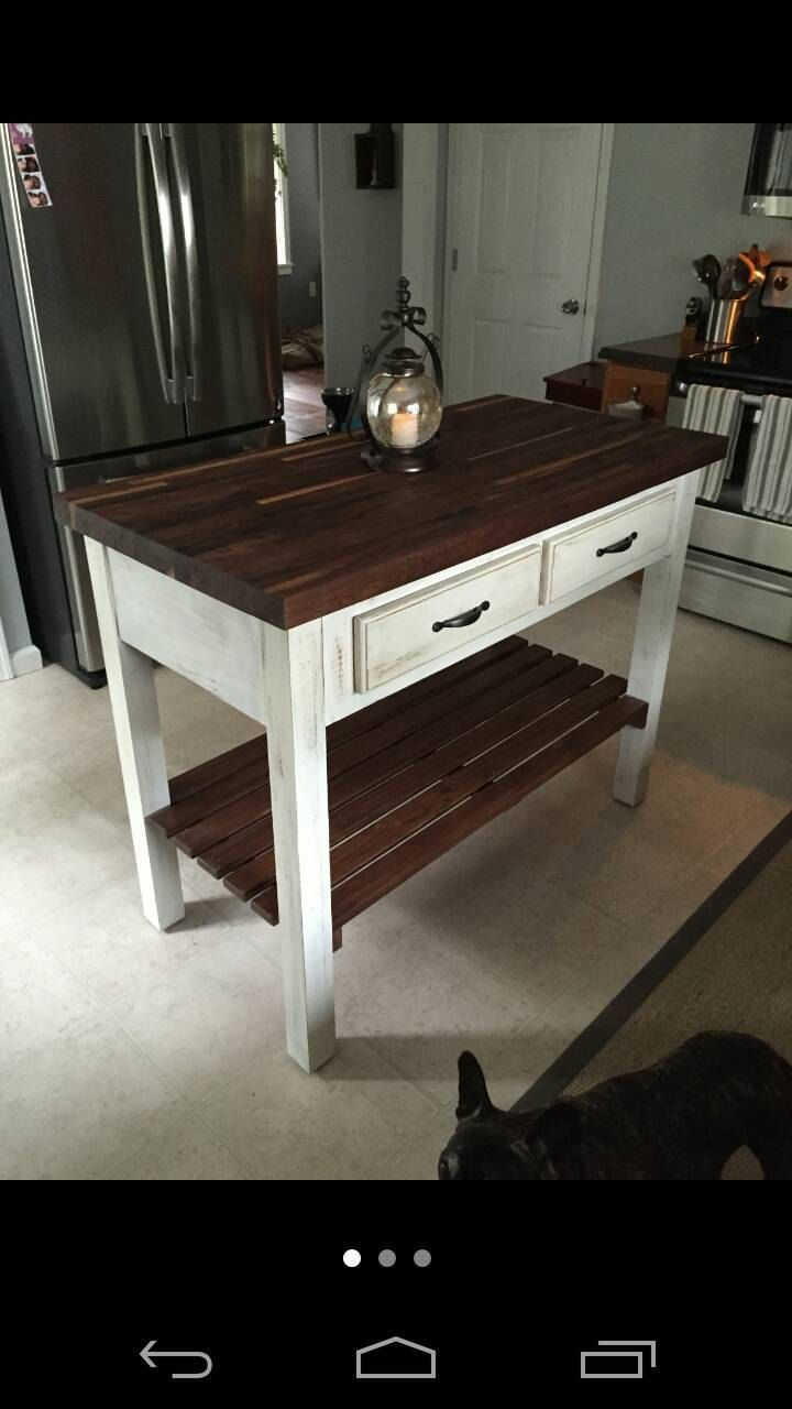Butcher block kitchen island in 2019 antiqued ideas - Small butcher block island ...