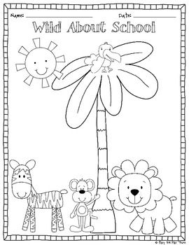Freebie Back To School Color Page And Writing Center Kindergarten First Day Welcome To School Jungle Theme Classroom