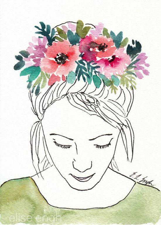 Watercolor Flower Crown Original Painting Flower Etsy Watercolor Girl Watercolor Flowers Floral Watercolor