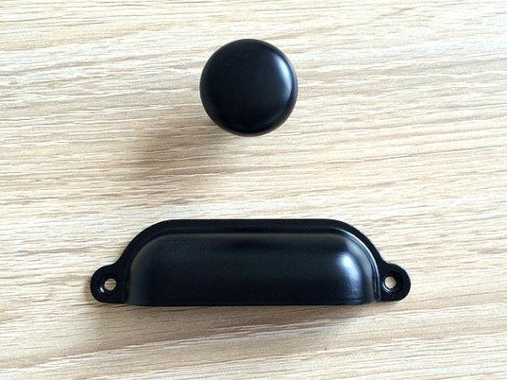 Black Dresser Drawer Pulls Handles Knobs Kitchen Cabinet Knob Cup - griffe für küche